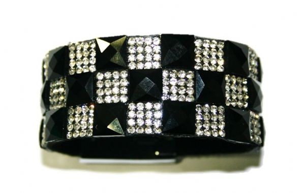 Diamante crystal bling cuff bracelet kit - 10mm faceted black square glass+2mm diamante clear stone -- c4009035kit